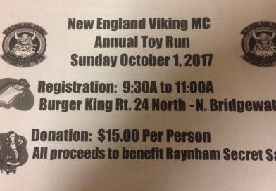 Vikings Toy Run – Sunday,  Oct 1 at 9:30 AM